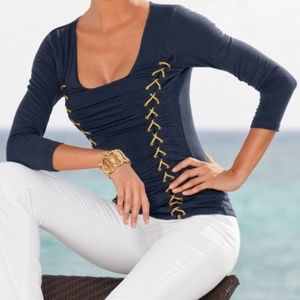Boston Proper Ruched Blouse with Gold Rope Small